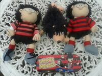 OFFICIAL DC THOMSON & CO LTD 1998 DENNIS & GNASHER BEANO SOFT TOYS & PENCIL CASE - COLLECTABLE