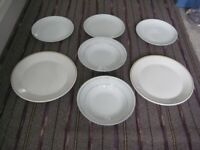 White Themed Crockery of 2 Dinner Plates, 3 Salad Plates and 2 Dessert Bowls for £5.00
