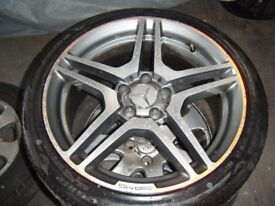 18 INCH MERCEDES AMG ALLOY WHEELS NEW TYRES AND 19 INCH 5 X 100 BBS CH MOTORSPORT ALLOYS VW AUDI