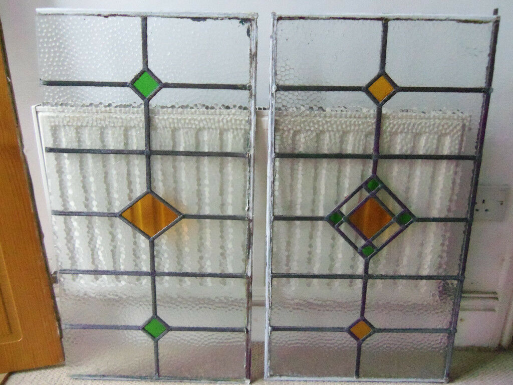 Lead stained glass window panels X2 (W44cm X H83cm)