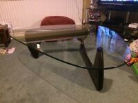 Noguchi Coffee Table for sale, black ash stand with glass top