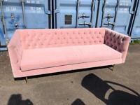 Made Julianne sofa in blush cotton velvet