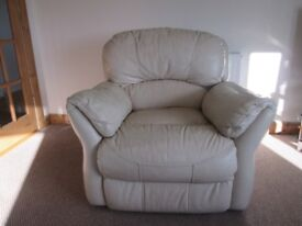 Cream leather recliner armchair chair (one of a pair for sale)
