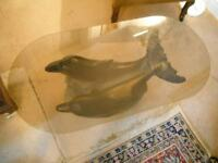 Dolphin Glass Top -Coffee Table. *Vintage/Shabby Chic Furniture*.