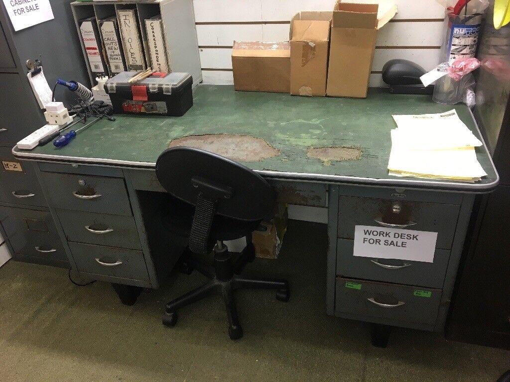 Vintage Sheer Pride 1950s Industrial Metal Desk Or Engineers Work