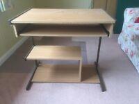 Computer desk, floor standing with keyboard sliding shelf