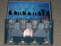 "4x Boxed Concerto Capri Lead Crystal Wine Glasses Goblets 7"" tall Made in Italy"