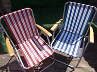 retro Pair of Garden beach deck chairs folding ideal for festival use