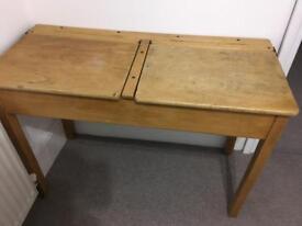 £50 Vintage solid wood school desk with 2 x flip lids