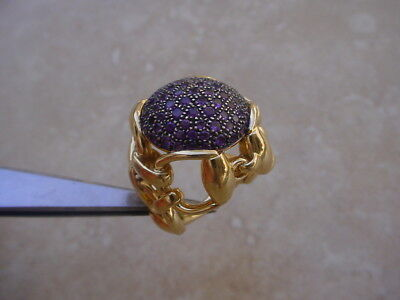 Gucci Ladies 18K Gold Ring w/ Pave` Set Amethysts. Equestrian, Horsebit Line.