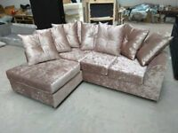 New L H Mink Crushed Velvet Corner Sofa Includes Free Delivery Matching Stool