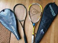 2 x squash rackets with cases Wilson Dunlop