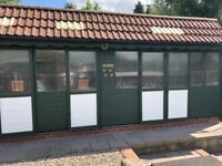 Large pigeon loft for sale. 3 sections with perches and best boxes included. Approx 20 ft wide