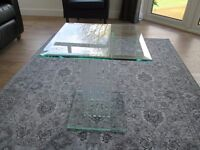 Beautiful Square Glass Side Table – With Glass Stems