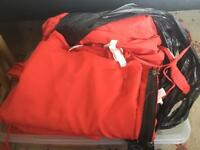 Large box full of red gazebo marquee covers / fabric with zips and velcro