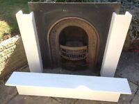 Victorian Cast Iron Fireplace with Limestone surround.