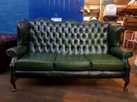 Green Chesterfield Queen Anne Sofa