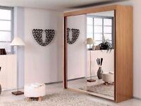 120 CM WIDTH- BLACK/WALNUT/WENGE WHITE 2 DOOR SLIDING WARDROBE WITH FULL MIRRORS, 4 SHELVES & 2 RAIL