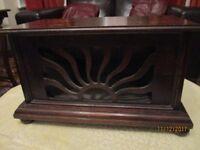vintage antique folded horn speaker in original polished wood cabinet