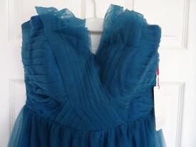 Dark teal / inky blue halter neck bridesmaid / prom dress size 14/16