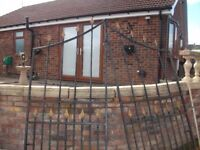 """wrought iron double driveway gates,-- 86"""" wide,-- x-88 high max."""