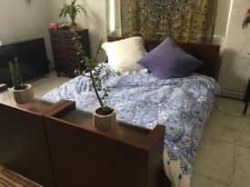 Gorgeous King Size Bed for Sale with 2 Shelving Units