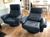 DFS blue leather 2 Seat Sofa and Chairs