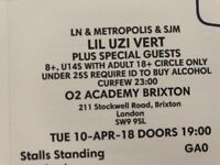 LIL UZI VERT TICKETS - Brixton 02 Academy - 10th April - Standing Stalls