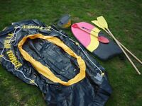 Inflatable 3 man boat, body board, pump and spade