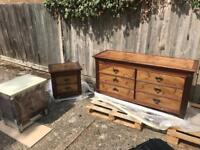Chest of drawers & 2 side tables
