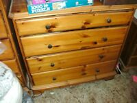 Pine drawers and beside cabinets used