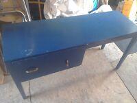 Solid wood blue desk