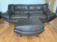 Leather 3 seater brown sofa and footstool £100