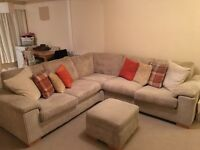 corner sofa with pouf