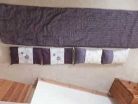 Bed Runner & 4 Cushion Covers. Purple and Cream. Excellent Condition.