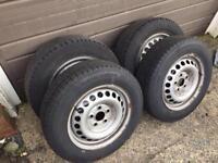 Vw t5 16inch steel wheels x 4 excellent tyres