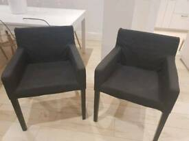 Ikea NILS carver chairs dining armchairs grey black charcoal set of two mint condition retro pair