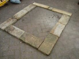 PAVING STONES - 10 BUFF 9 INCHES X 18 INCHES. RECLAIMED. SUITABLE FOR GARDEN FEATURE OR PATH