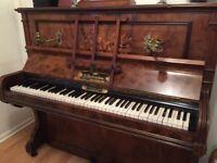 Beautiful late Victorian/Edwardian upright piano with stool