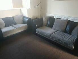 REDUCED 3 and 2 seater sofas black Grey leather effect
