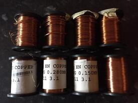 Various Enamelled Copper Wire x8 - job lot.-14swg to 38swg