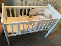 Mothercare Hyde Crib with mattress and bedding