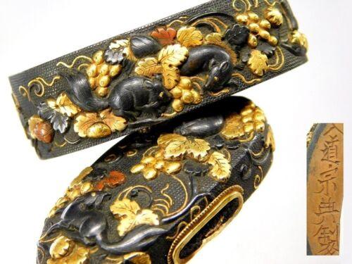 SUPERB Signed SOTEN Squirrels FUCHI/KASHIRA Japanese Edo Antique for Koshirae
