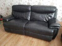 3 seater black leather manual recliner