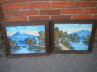 A PAIR OF OIL PAINTINGS ON BOARD FROM JAPAN 24X18 INCHES