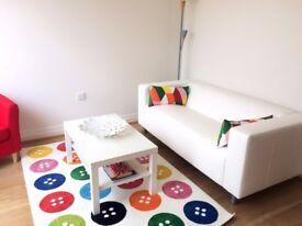 two-seat sofa, IKEA KLIPPAN in white