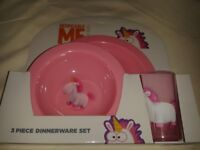 DESPICABLE ME UNICORN PLATE BOWL AND CUP SET NEW