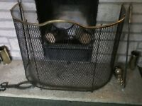 Antique fireguard, free standing vintage style curved with brass trim