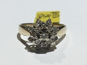 #1531 14K YELLOW / WHITE GOLD DIAMOND CLUSTER .68CT IN DIAMONDS *SIZE 5 3/4* JUST BACK FROM APPRAISAL AT $2550.00!
