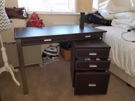 Desk with drawer unit and lamp PLUS book case.